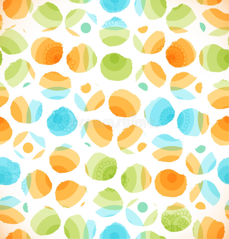 O teste padrão original abstrato sem emenda com círculos pontilhou o fundo multicolorido ilustração stock