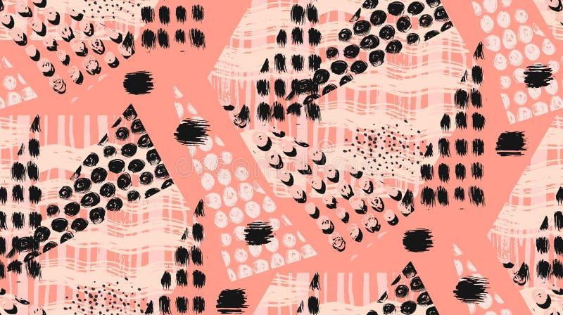 O teste padrão ou o fundo sem emenda geométrico feito à mão incomum abstrato com brilho, apontam texturas, escova pintada ilustração royalty free