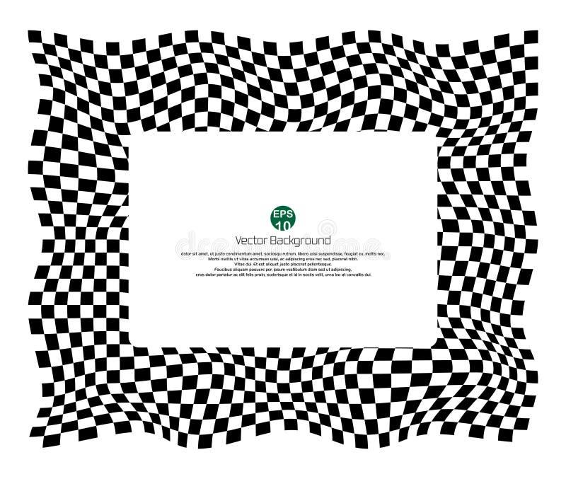 O teste padrão quadriculado do fundo do campeão com distorce a bandeira preto e branco ilustração royalty free