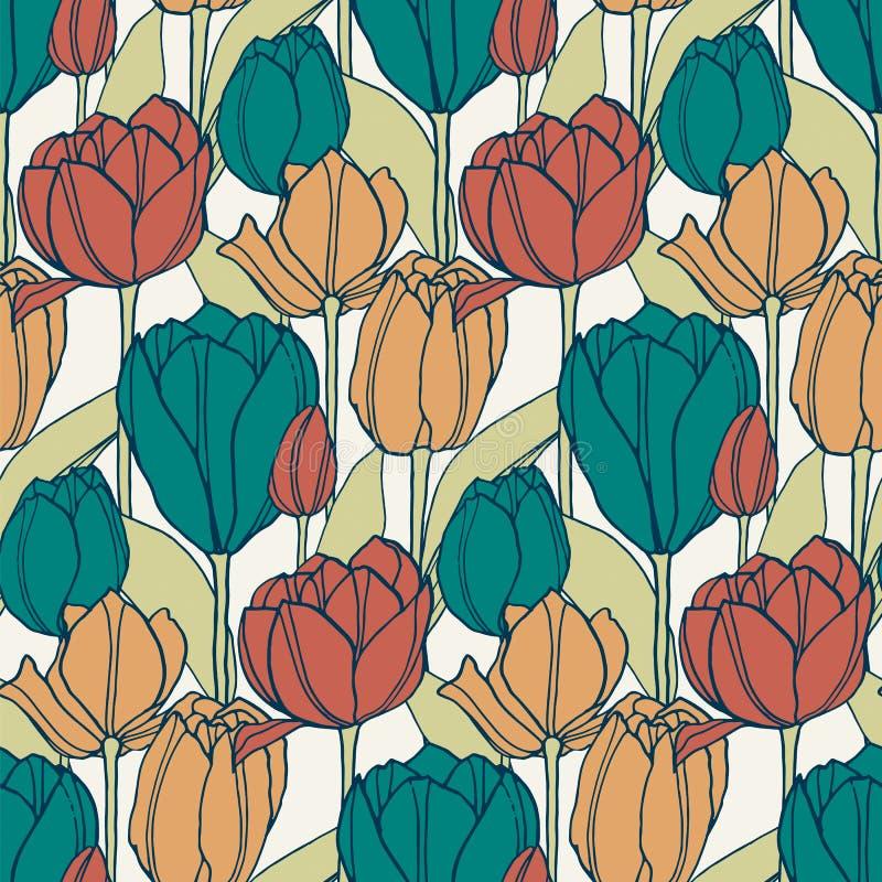 O teste padrão retro do vetor sem emenda com a tulipa tirada mão floresce projeto para a matéria têxtil, interior, empacotando ilustração stock