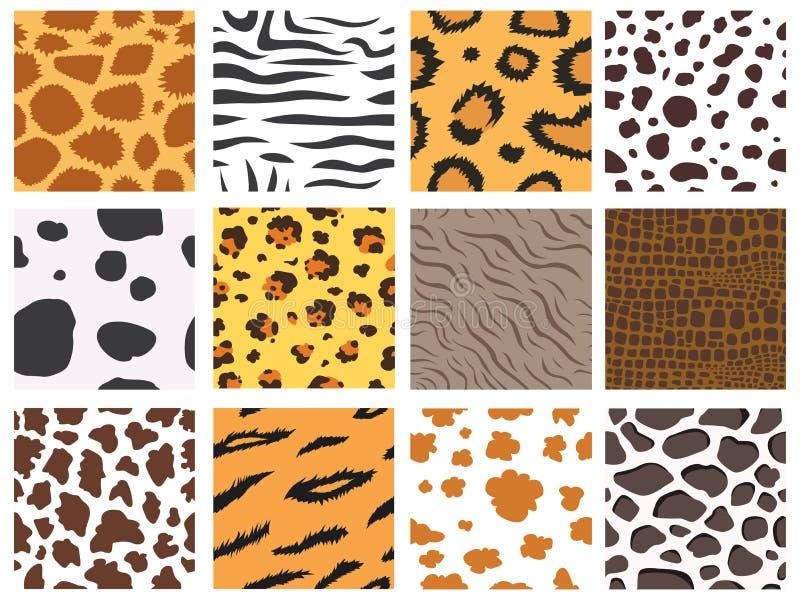 O teste padrão sem emenda África material natural do cabelo peludo selvagem animal do fundo dos animais selvagens do sumário da n ilustração do vetor