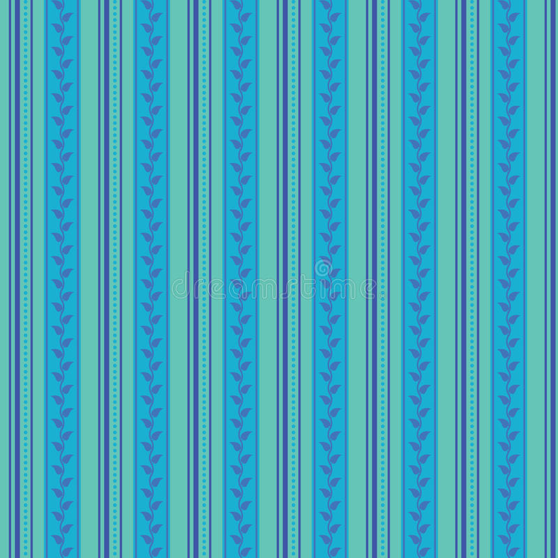 O teste padrão sem emenda abstrato do ornamento, ilustração do vetor, fundo retro feito com listras verticais pontilha e as folha ilustração do vetor