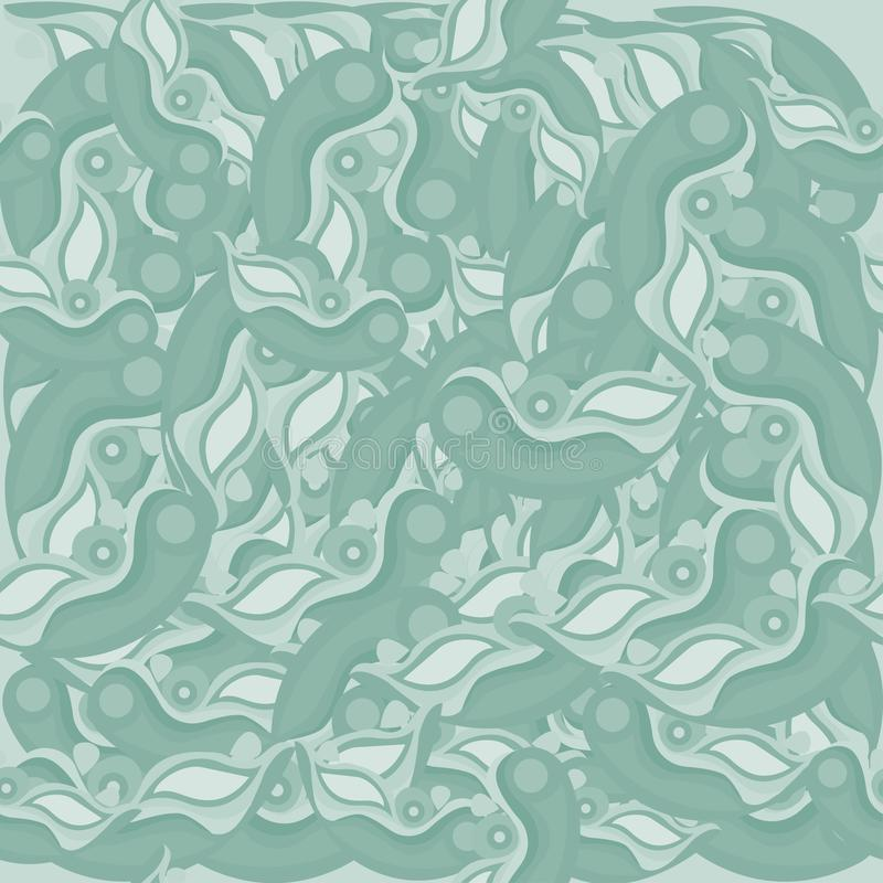 O teste padrão sem emenda abstrato esverdeia uma máscara ilustração stock