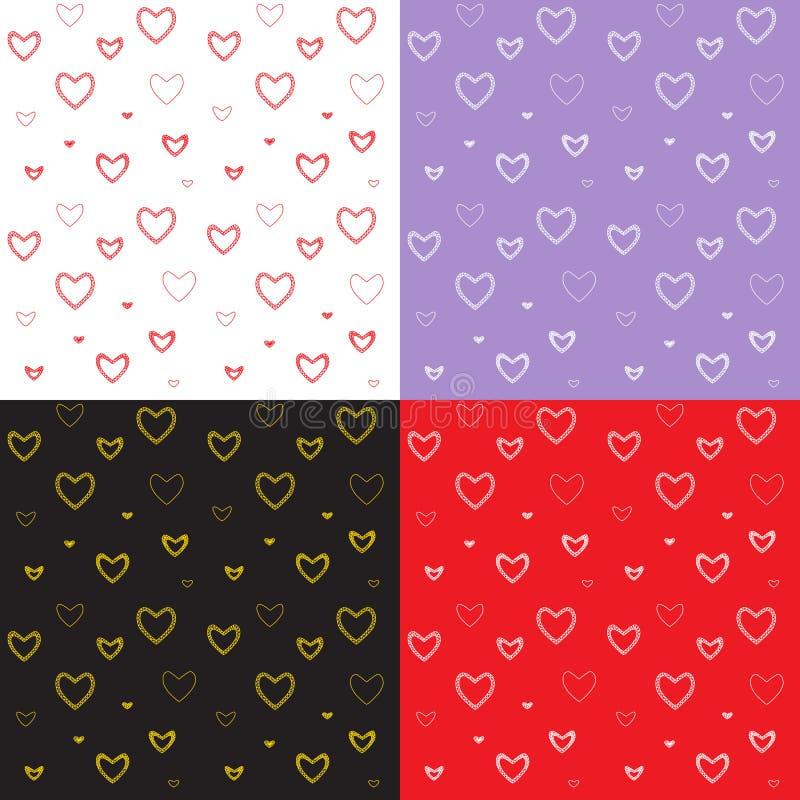 O teste padrão sem emenda ajustou-se com corações do ` s do Valentim do mosaico imagem de stock