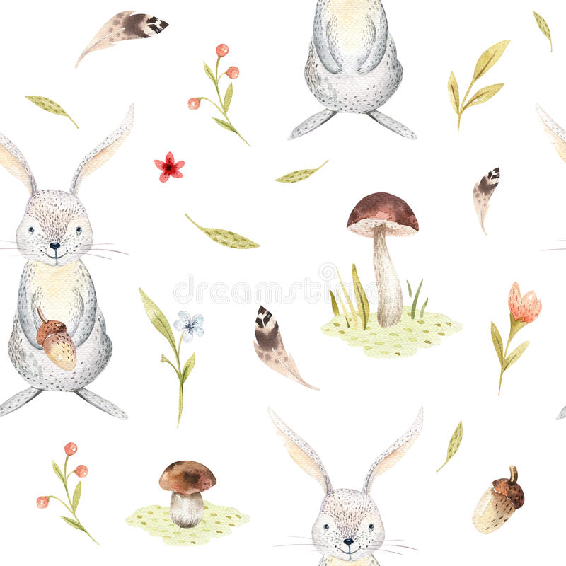 O teste padrão sem emenda animal para o jardim de infância, berçário do coelho bonito do bebê isolou a ilustração para a roupa da ilustração stock