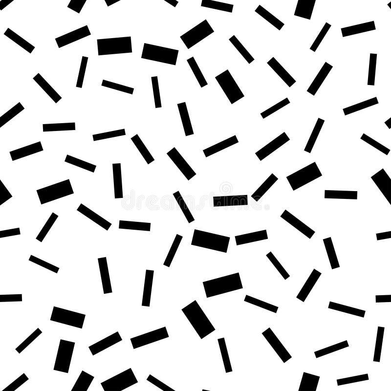 O teste padrão sem emenda arrisca retângulos pretos no fundo branco fotografia de stock