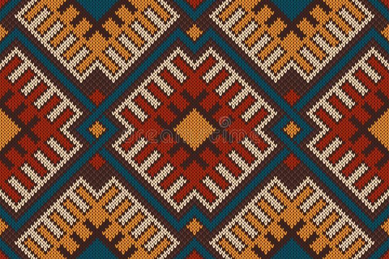 O teste padrão sem emenda asteca tribal nas lãs fez malha a textura ilustração do vetor