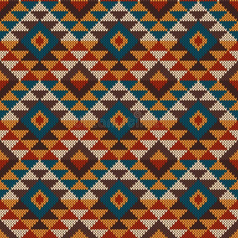 O teste padrão sem emenda asteca tribal tradicional nas lãs fez malha o te ilustração royalty free