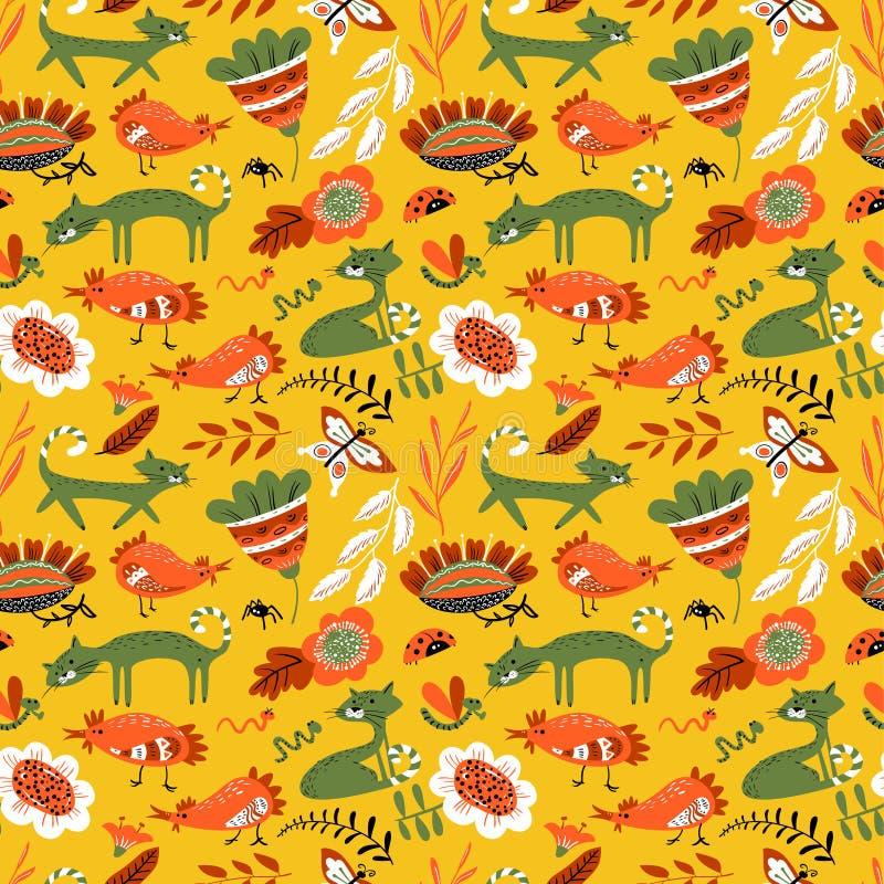 O teste padrão sem emenda bonito com gato e chiken Backgro floral do verão ilustração royalty free