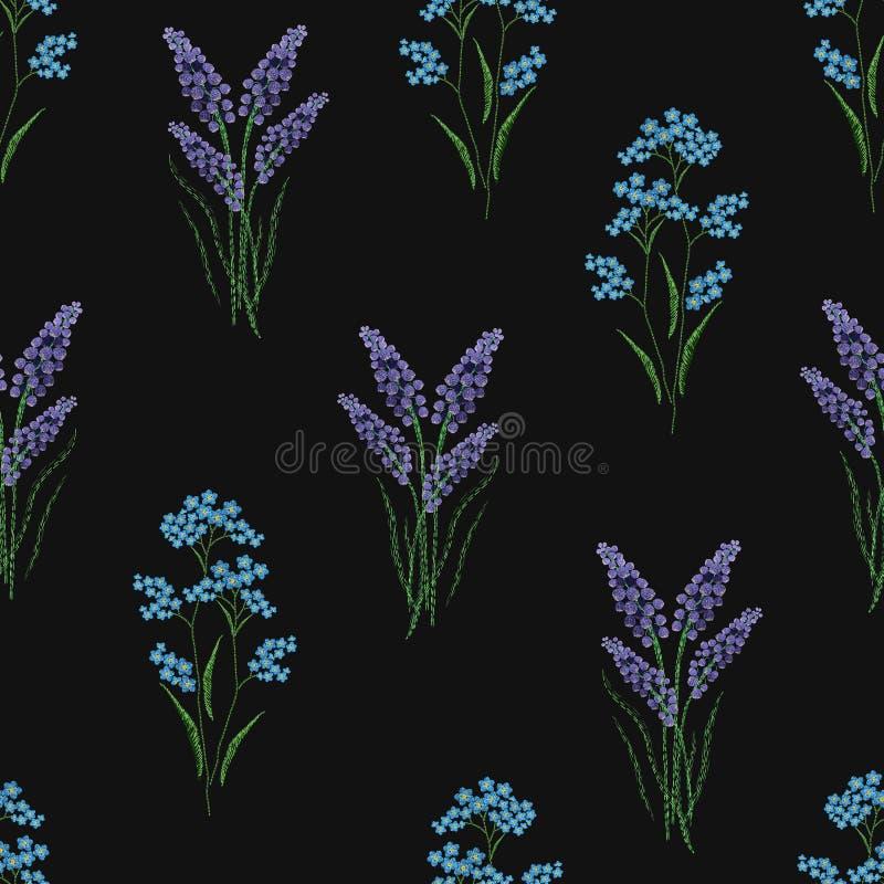 O teste padrão sem emenda botânico com alfazema e miosótis de florescência bordados floresce no fundo preto backdrop ilustração stock
