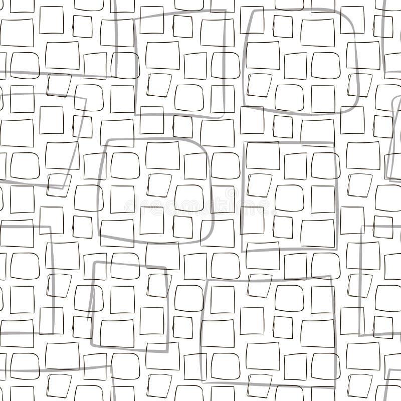 O teste padrão sem emenda branco preto cinzento do vetor com linha cômica cursos das listras dos quadrados desenhados à mão quadr ilustração stock