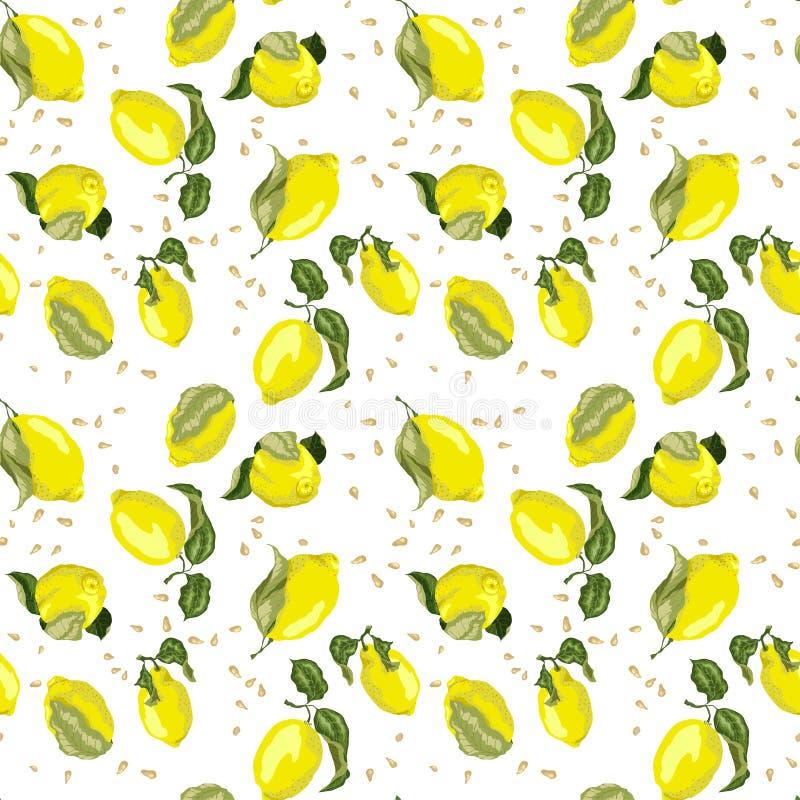 O teste padrão sem emenda brilhante do limão com as sementes no conceito coloriu o grap ilustração stock