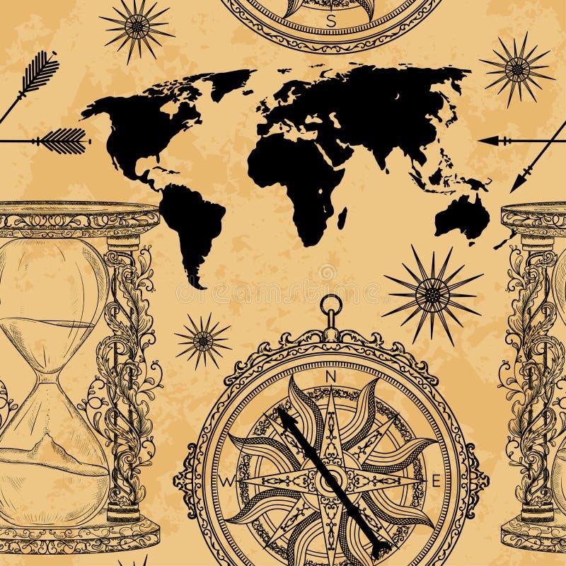 O teste padrão sem emenda com ampulheta, compasso, mapa do mundo e vento do vintage aumentou ilustração royalty free