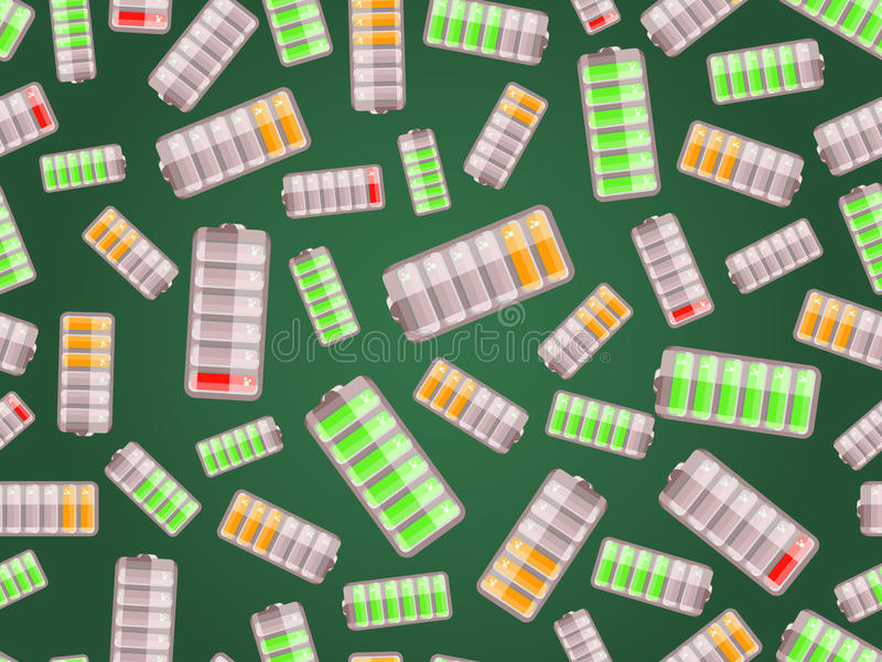 O teste padrão sem emenda com baterias carregou no nível diferente ilustração stock