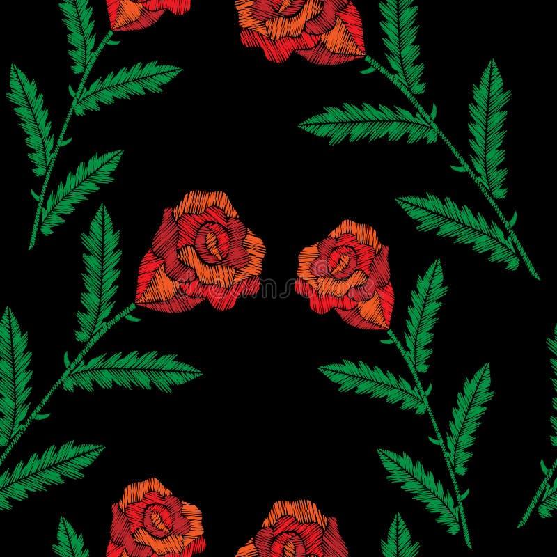 O teste padrão sem emenda com bordado costura rosas vermelhas de imitação ilustração royalty free