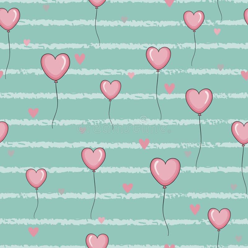 O teste padrão sem emenda com corações cor-de-rosa balloons em fundo listrado ilustração do vetor