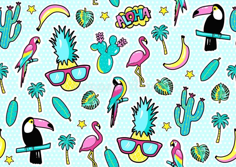 O teste padrão sem emenda com crachás do remendo da forma com tucano, flamingo, papagaio, folhas exóticas, corações, estrelas, di ilustração royalty free