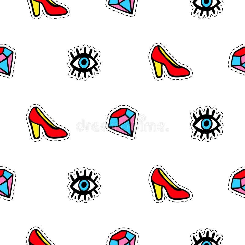 O teste padrão sem emenda com crachás elegantes do remendo ajustou-se, sapatas vermelhas, olhos e diamantes, isolados no fundo br ilustração royalty free
