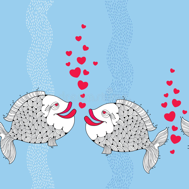 O teste padrão sem emenda com desenhos animados pesca pares no amor e bolhas vermelhas como o coração no fundo azul com listras ilustração royalty free