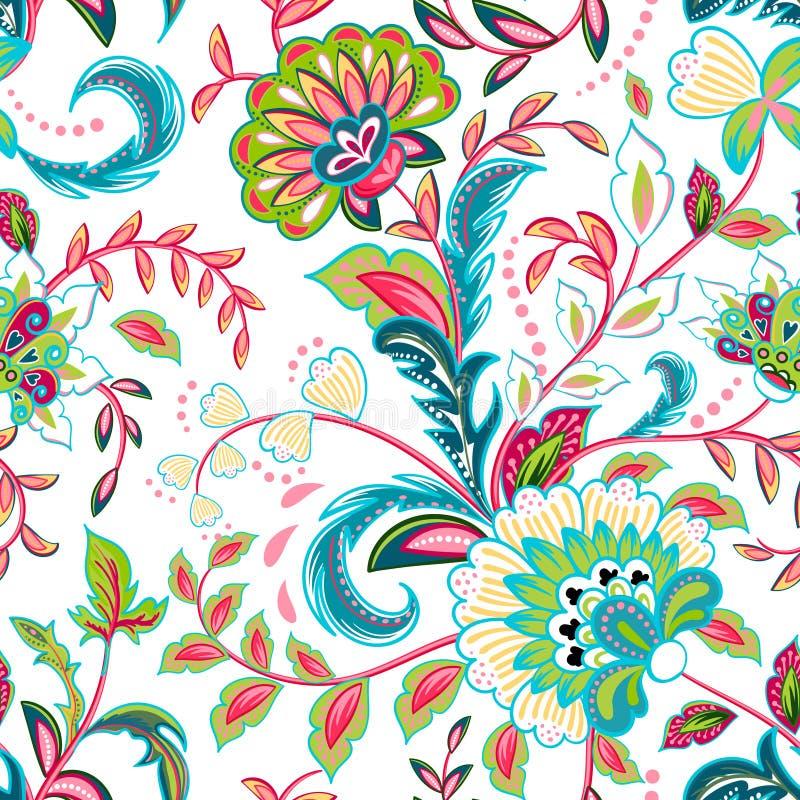 O teste padrão sem emenda com fantasia floresce, papel de parede natural, ilustração floral da onda da decoração Mão de cópia de  ilustração stock