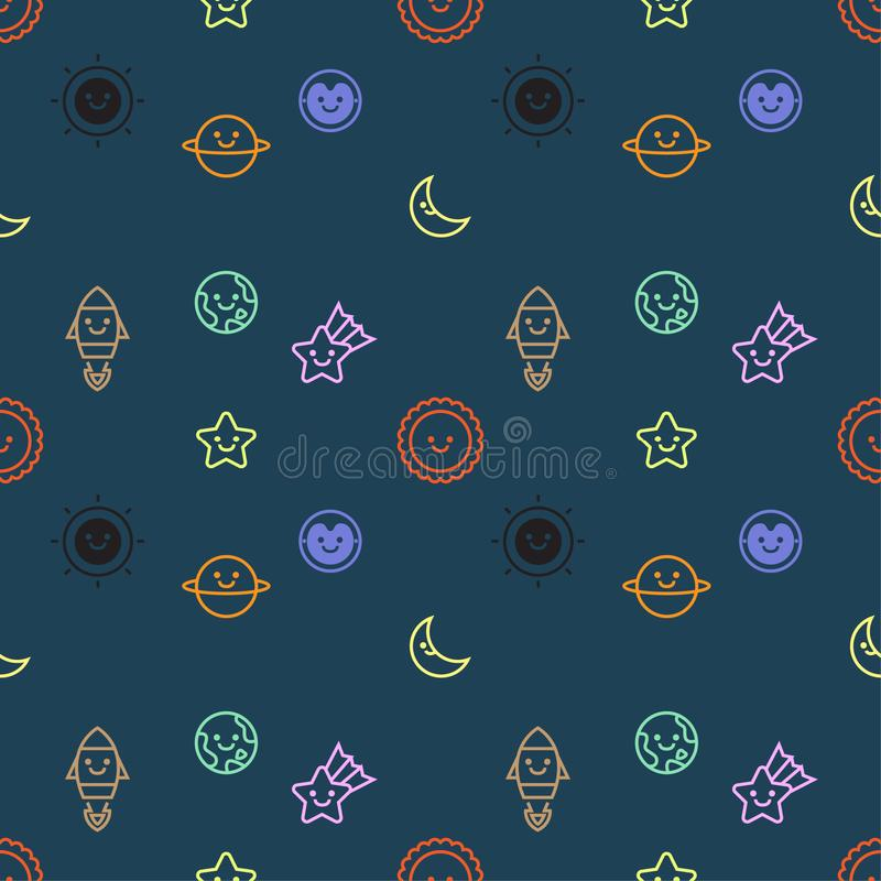 O teste padrão sem emenda com grupo de ícone dos objetos do espaço e da galáxia projeta, fundo escuro, vetor ilustração do vetor