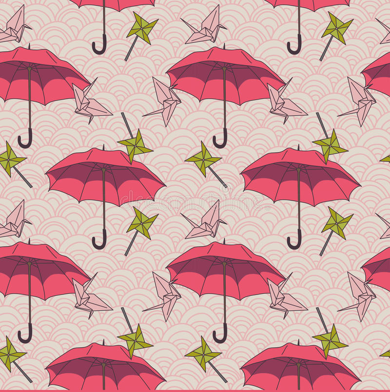O teste padrão sem emenda com guarda-chuvas e o origâmi coloridos cranes no estilo asiático ilustração do vetor