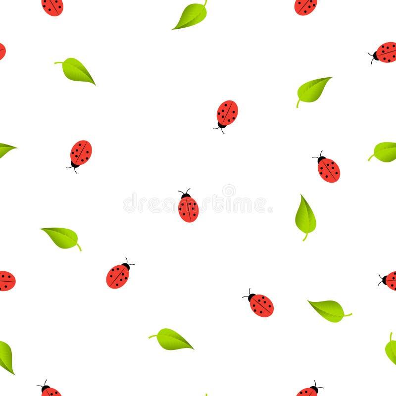 O teste padrão sem emenda com joaninhas vermelhos e verde sae no branco ilustração do vetor