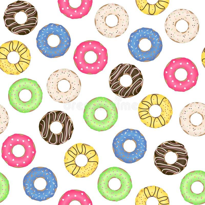 O teste padrão sem emenda com os anéis de espuma coloridos e deliciosos Vetor ilustração royalty free
