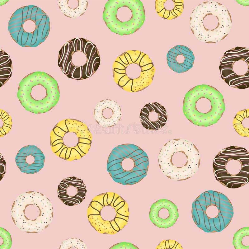 O teste padrão sem emenda com os anéis de espuma coloridos e deliciosos Vetor ilustração do vetor