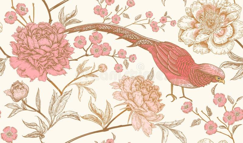 O teste padrão sem emenda com os faisão e a peônia exóticos do pássaro floresce ilustração do vetor