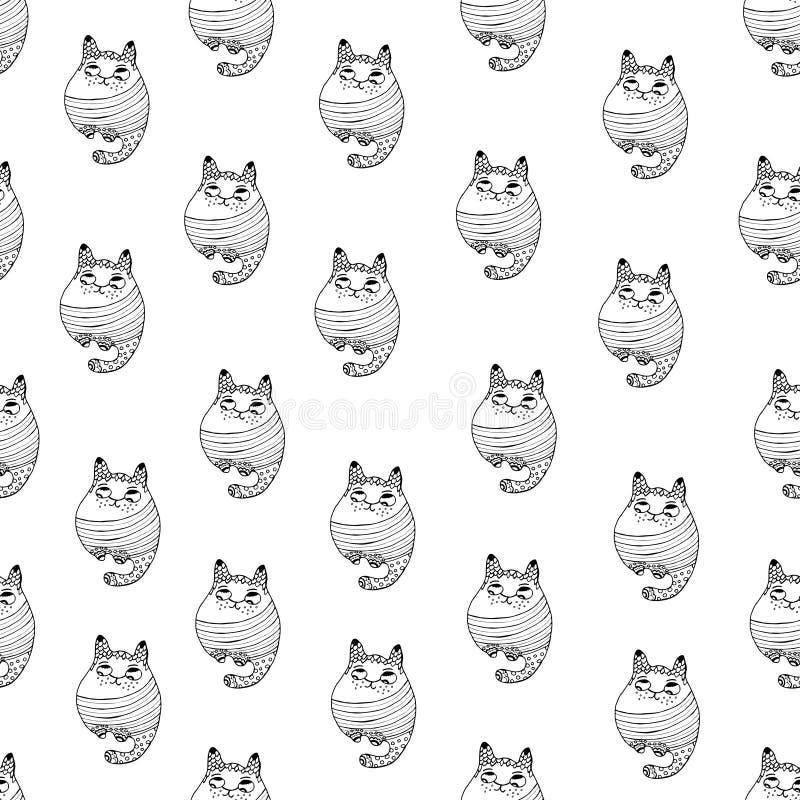 O teste padrão sem emenda com os gatos bonitos do moderno vector a ilustração ilustração do vetor