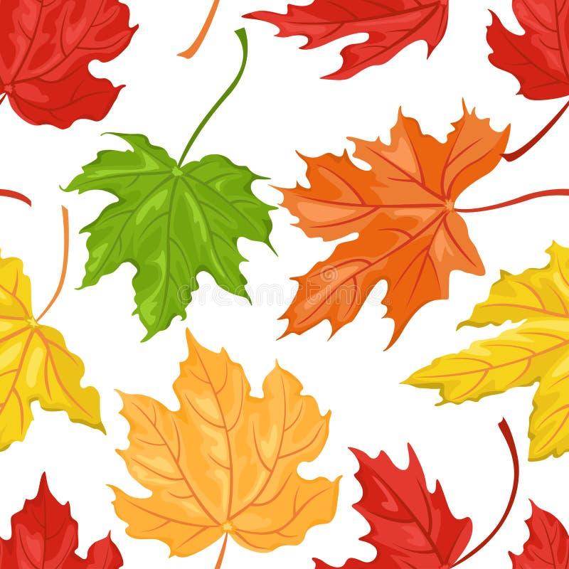 O teste padrão sem emenda com outono coloriu as folhas de bordo ilustração royalty free
