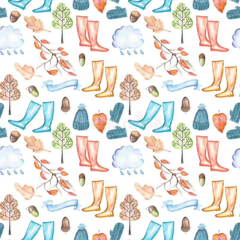 O teste padrão sem emenda com outono da aquarela objeta o chapéu e mitenes mornos, as botas de borracha, a nuvem de chuva, as fol ilustração royalty free