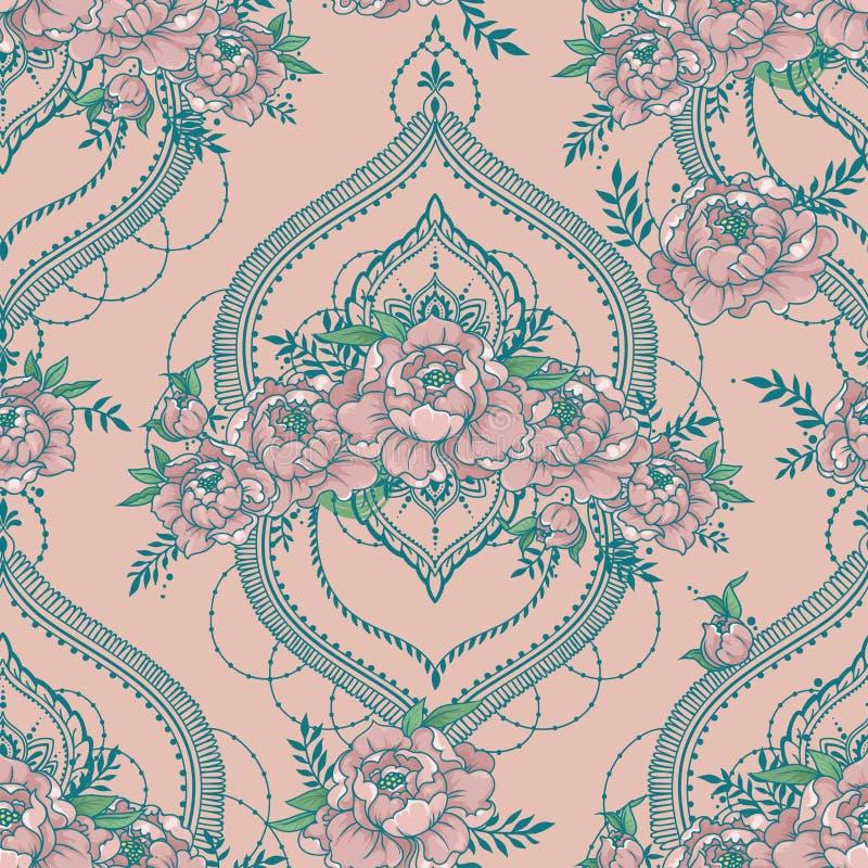 O teste padrão sem emenda com peônias bonitas e o mendi denominam quadros deorative ilustração royalty free