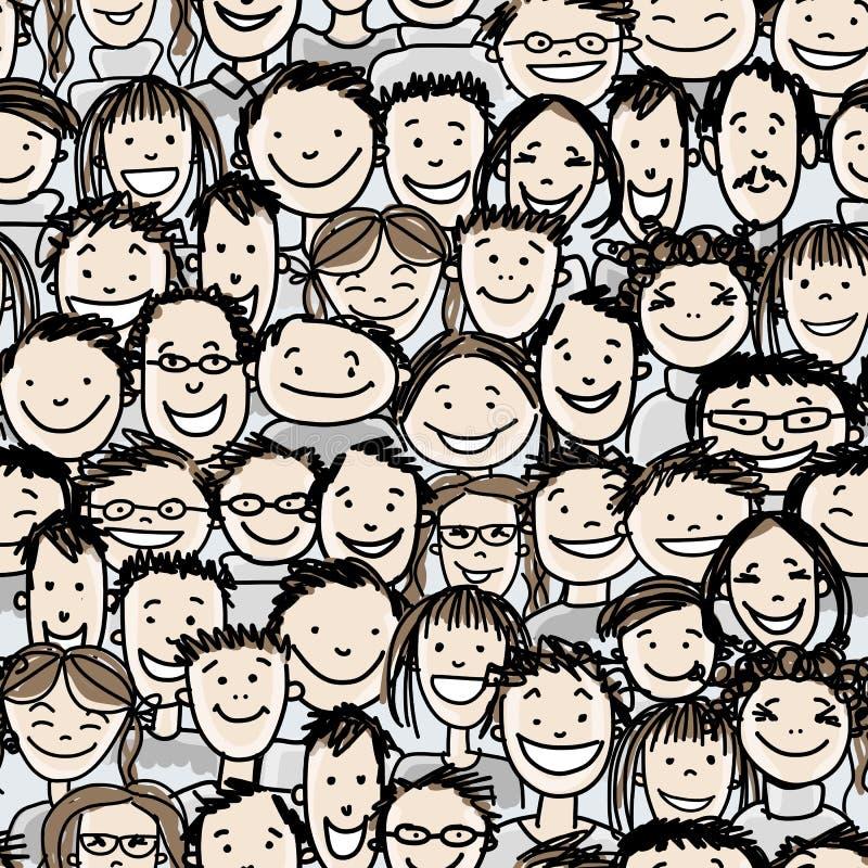 O teste padrão sem emenda com povos aglomera-se para seu projeto ilustração stock