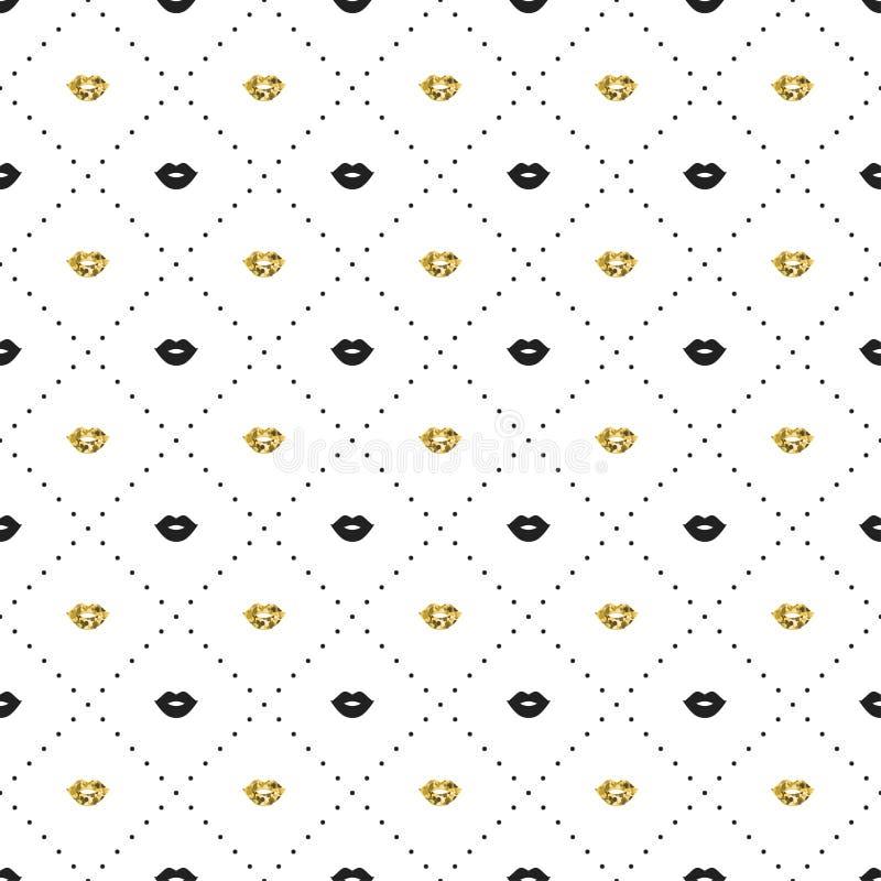 O teste padrão sem emenda com preto e os bordos do ouro beijam formas Rosa vermelha Beijo do batom Ilustração do vetor Fundo ilustração royalty free