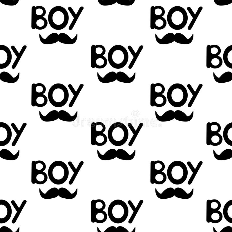 O teste padrão sem emenda com preto exprime o menino e o bigode ilustração do vetor