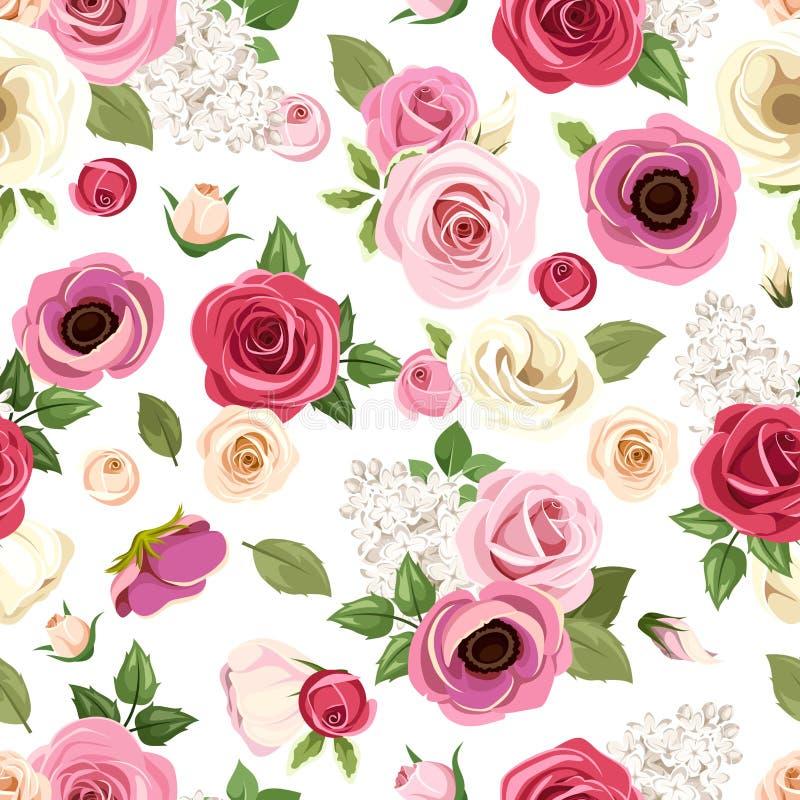 O teste padrão sem emenda com rosas, o lisianthus e a anêmona coloridos floresce Ilustração do vetor ilustração do vetor