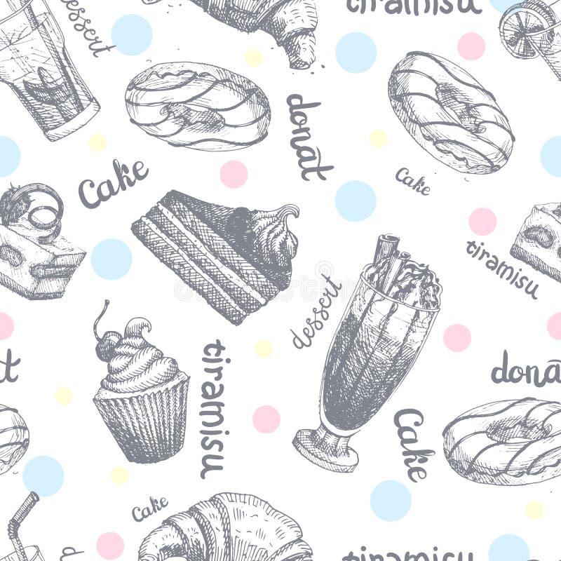 O teste padrão sem emenda com sobremesas entrega panquecas tiradas e a ilustração doce do vetor do creme do bolo do esboço dos bo ilustração royalty free