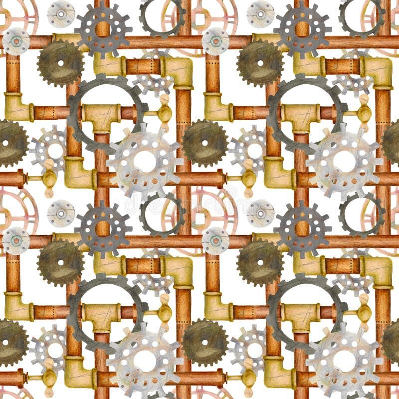 O teste padrão sem emenda com tubulações, ventil de Steampunk, válvula, alinha ilustração stock
