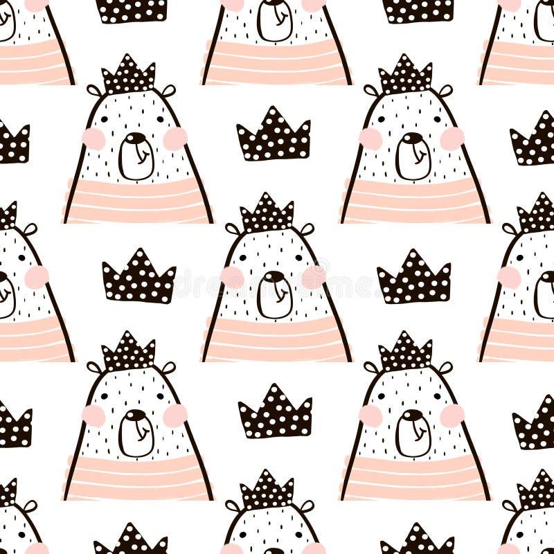 O teste padrão sem emenda com o urso bonito da menina carrega a princesa Aperfeiçoe para a tela, matéria têxtil Fundo do vetor ilustração do vetor