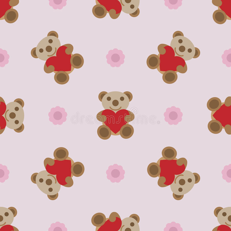 O teste padrão sem emenda com urso de peluche e o coração brincam ilustração stock
