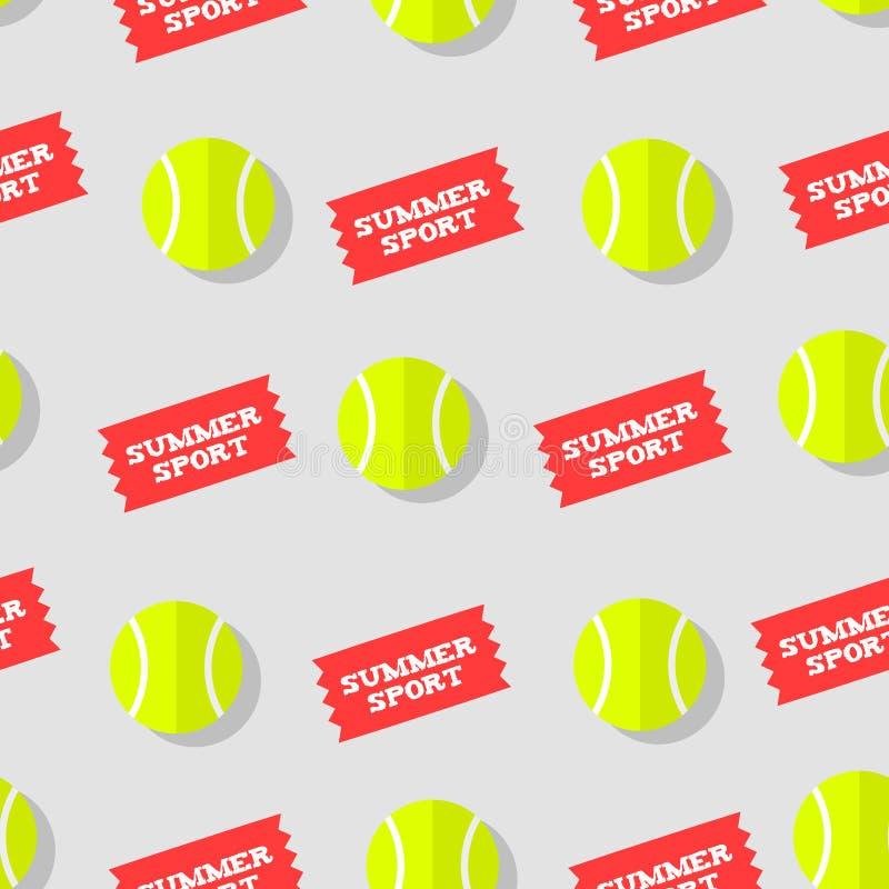 O teste padrão sem emenda com verão da bola e das etiquetas de tênis ostenta Estilo liso Fundo do vetor ilustração royalty free