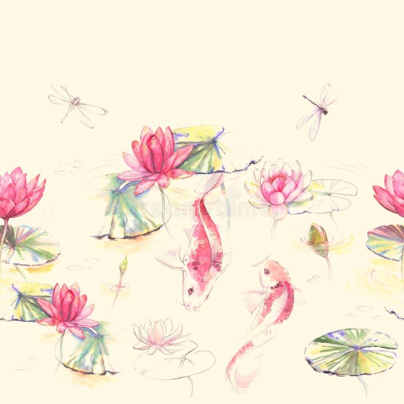 O teste padrão sem emenda da aquarela desenhado à mão no estilo de Japão com flores de lótus, folhas e carpa de Koi pesca ilustração do vetor