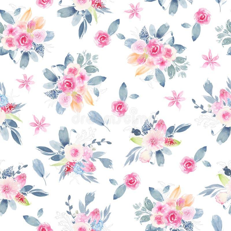 O teste padrão sem emenda da aquarela pintado à mão com a peônia do rosa da flor aumentou as folhas ilustração stock