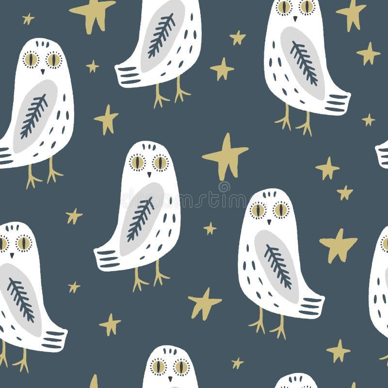 O teste padrão sem emenda da arte nevado da coruja, partido de pijama, pássaro polar branco boêmio bonito ilustração royalty free
