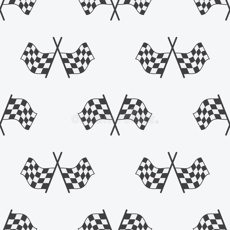 O teste padrão sem emenda da bandeira quadriculado, competindo embandeira o ícone e a fita do revestimento Ostente o automóvel, a ilustração royalty free