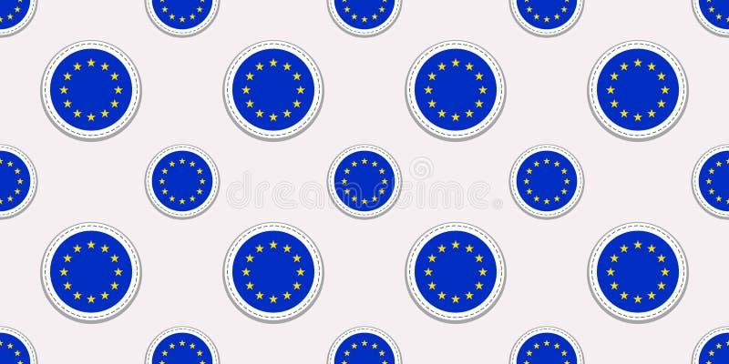 O teste padrão sem emenda da bandeira redonda da União Europeia Fundo da UE Ícones do círculo do vetor Símbolos geométricos Textu ilustração royalty free