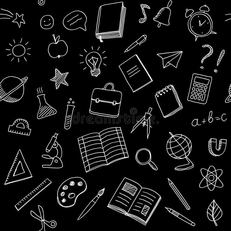 O teste padrão sem emenda da escola com giz rabisca o estilo no fundo preto ilustração stock