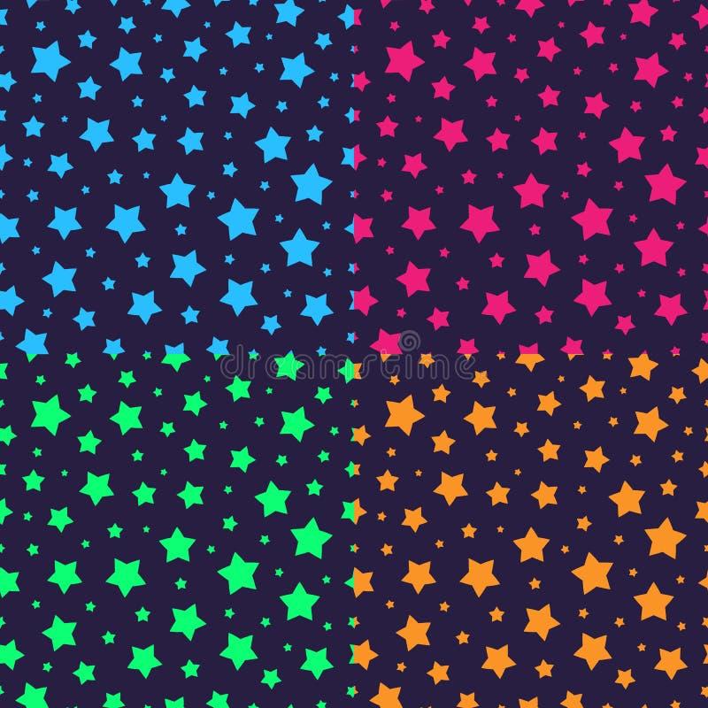O teste padrão sem emenda da estrela do vetor ajustou o estilo de néon ilustração do vetor